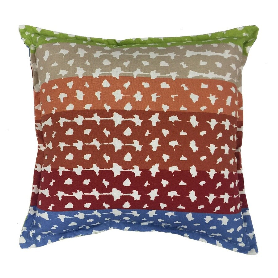 allen + roth Red and Green Geometric Square Throw Pillow Outdoor Decorative Pillow