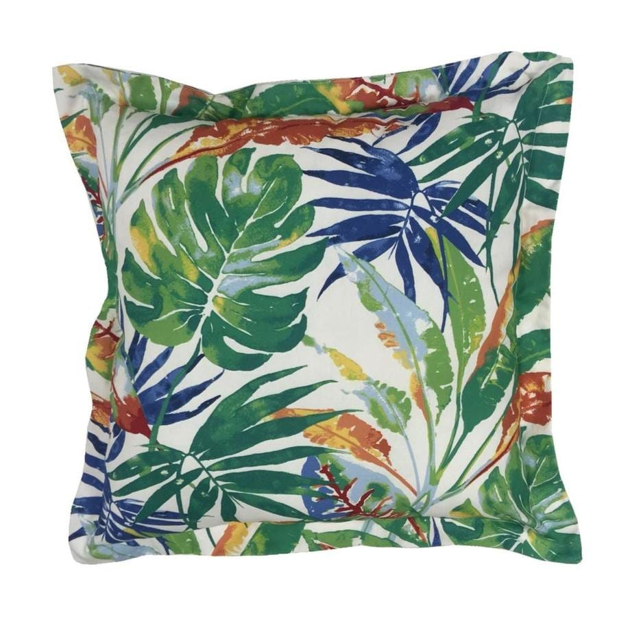 Decorative Pillow Covers Lowes : Shop allen + roth Green and Red Floral Square Throw Pillow Outdoor Decorative Pillow at Lowes.com