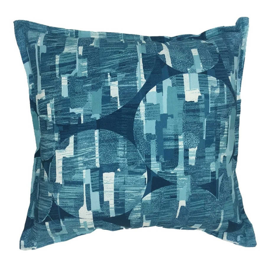 allen + roth Blue and White Tropical Square Throw Pillow Outdoor Decorative Pillow