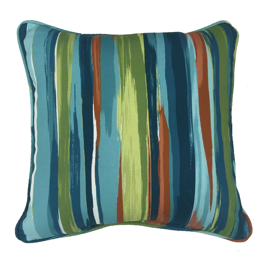 Shop allen + roth Blue and Green Striped Square Throw Pillow Outdoor Decorative Pillow at Lowes.com
