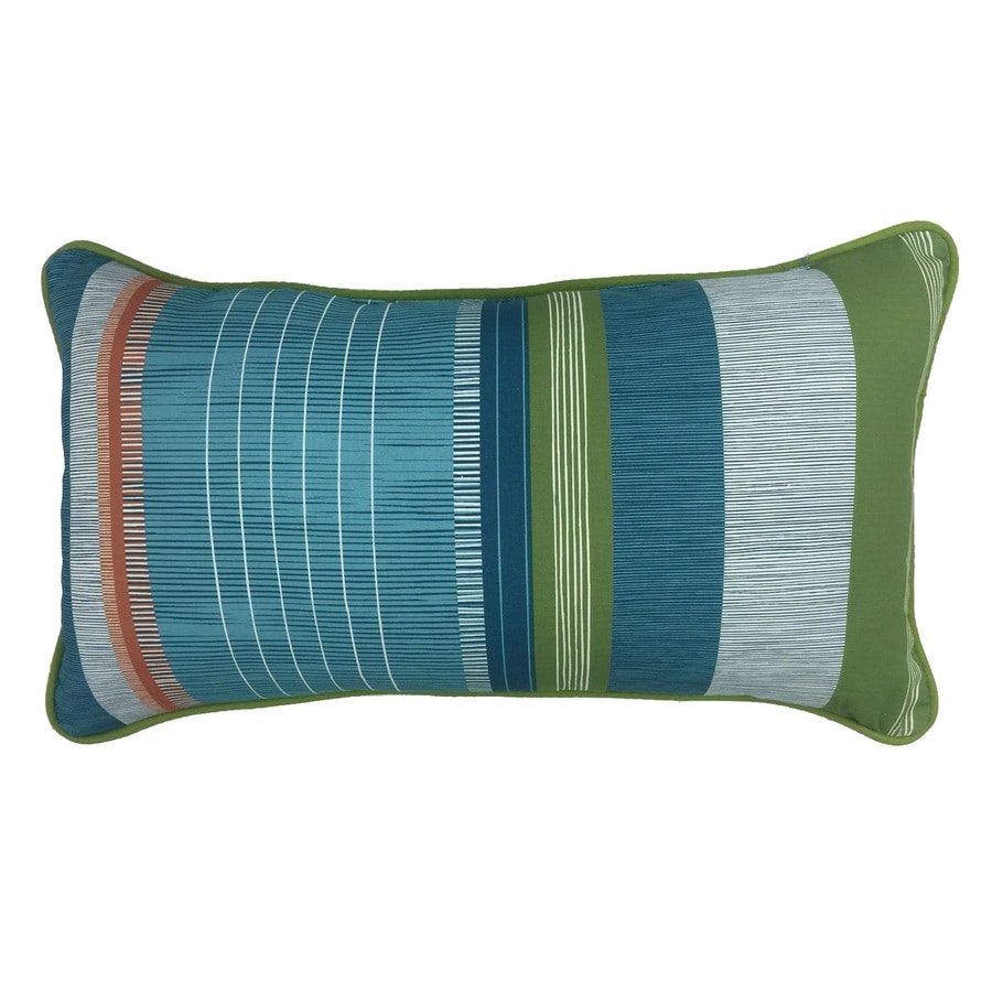 Shop allen + roth Red and Green Striped Rectangular Lumbar Pillow Outdoor Decorative Pillow at ...