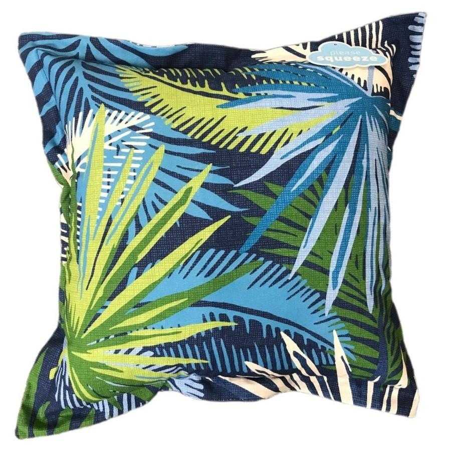 Allen Roth Outdoor Indoor Floral Blue Square Throw Pillow At Lowes Com