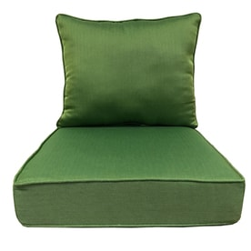 Allen + Roth 2 Piece Solid Green Deep Seat Patio Chair Cushion