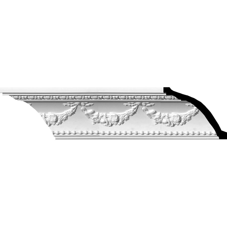 Ekena Millwork 6.375-in x 7.97-ft Polyurethane Floral Swag Crown Moulding
