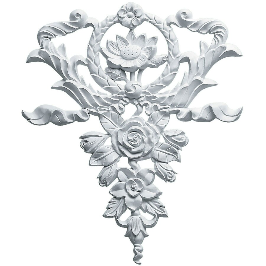Ekena Millwork 10.625-in x 12.625-in Flower and Wreath Urethane Applique