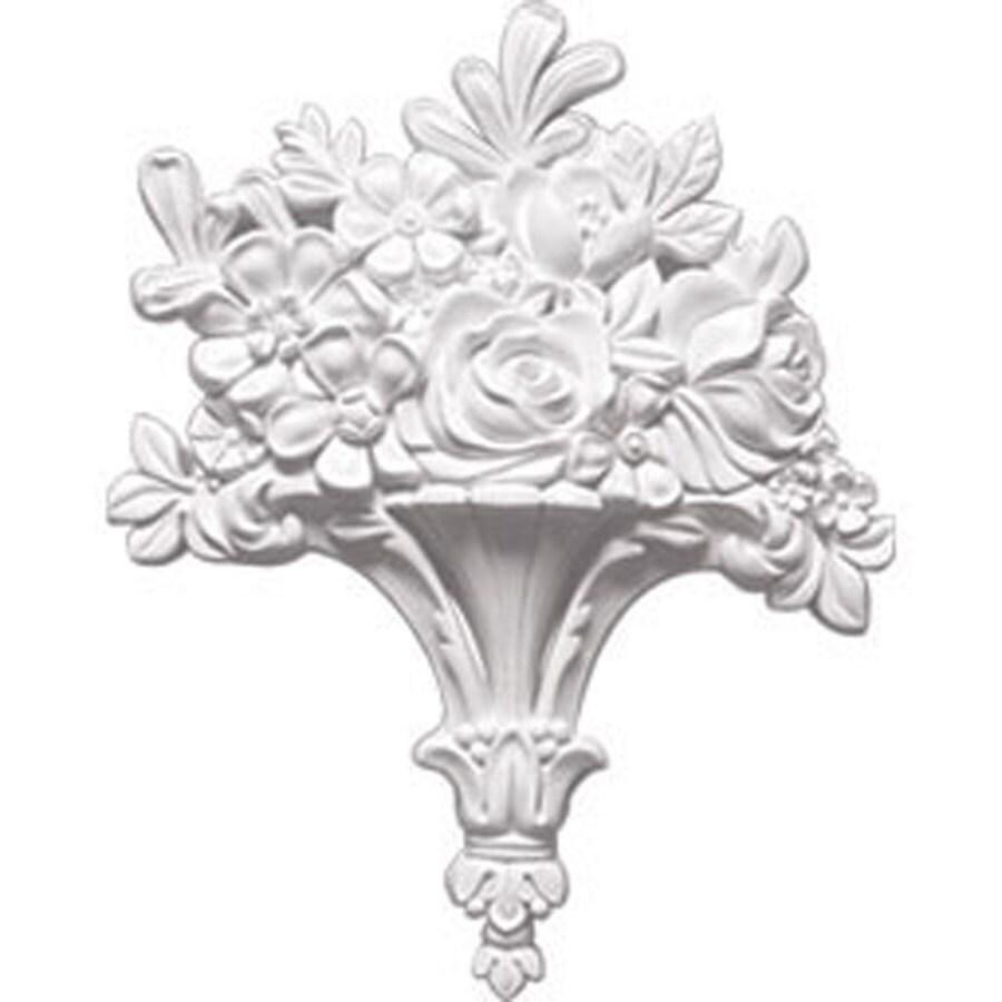 Ekena Millwork 10.625-in x 13.25-in Flower Basket Primed Urethane Applique