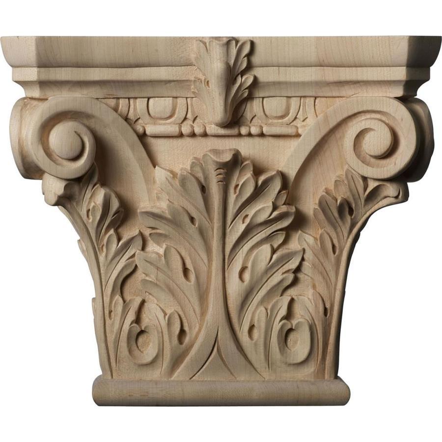 Ekena Millwork Corinthian 11.5-in x 0.8-ft Maple Wood Capital Entry Door Casing Accent