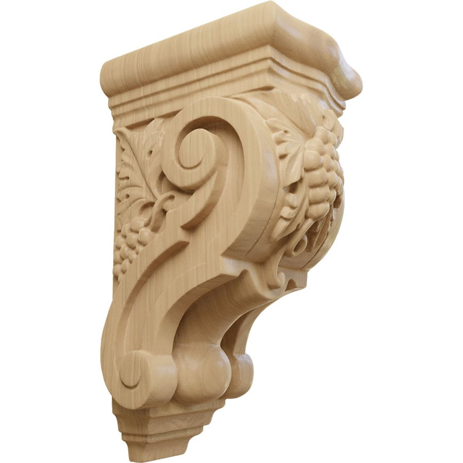 Ekena Millwork 3.5-in x 7.875-in Grape Bunches Cherry Corbel
