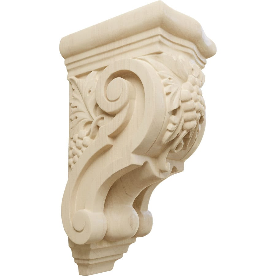 Ekena Millwork 3.5-in x 7.875-in Grape Bunches Lindenwood Corbel