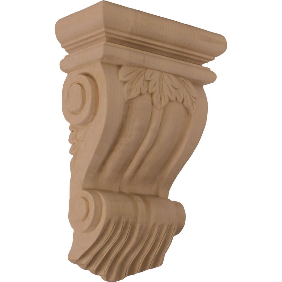Ekena Millwork 7-in x 11-in Cherry Traditional Leaf Wood Corbel