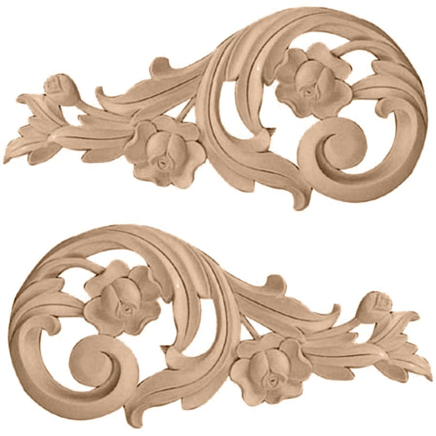 Ekena Millwork 11.5-in x 5.5-in Rose Scrolls Wood Applique