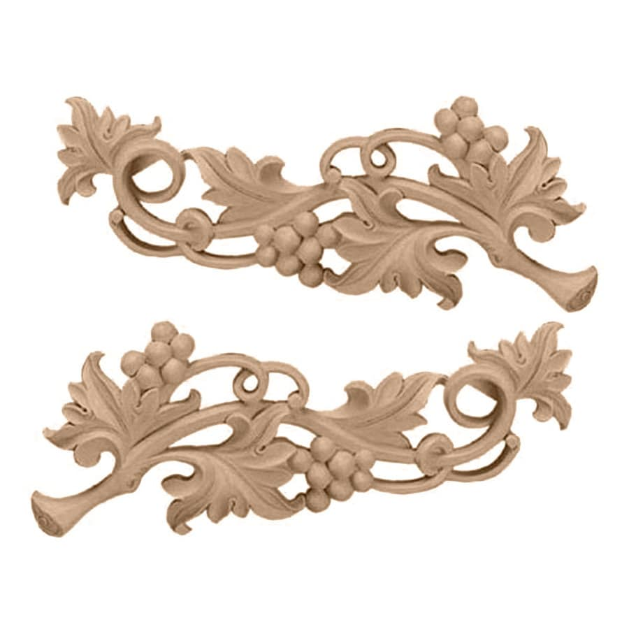 Ekena Millwork 14.5-in x 5.625-in Grape Scrolls Wood Applique