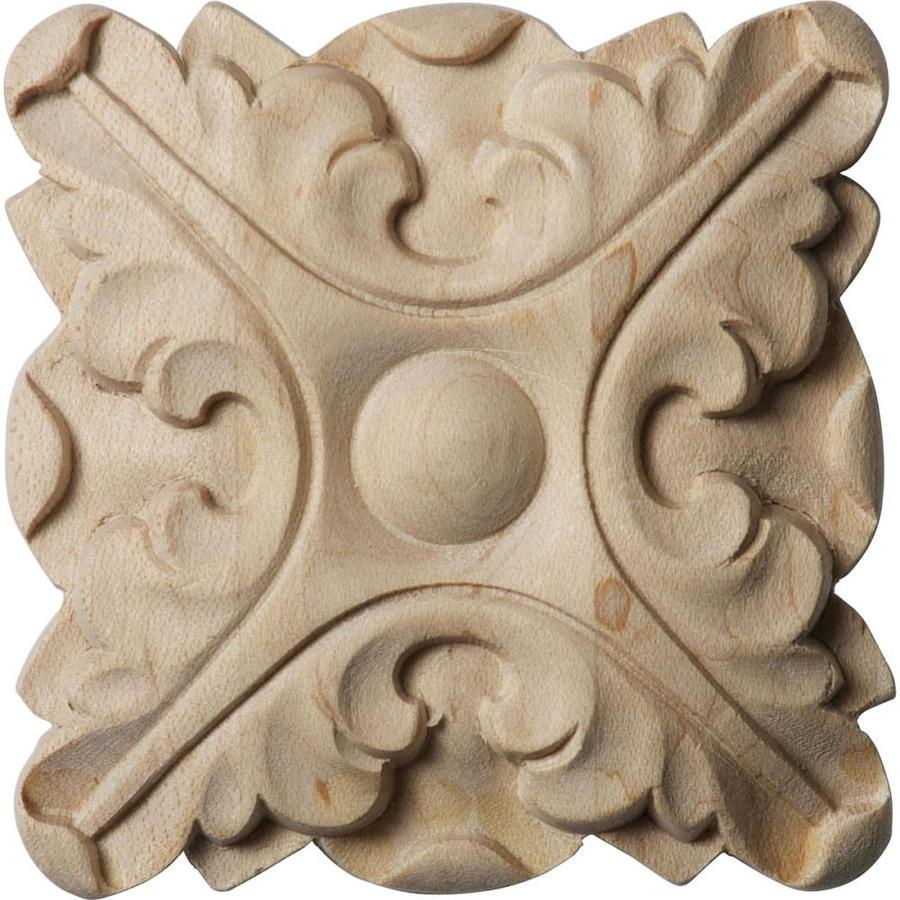 Ekena Millwork Acanthus 2.75-in x 2.75-in Round Rubberwood Rosette