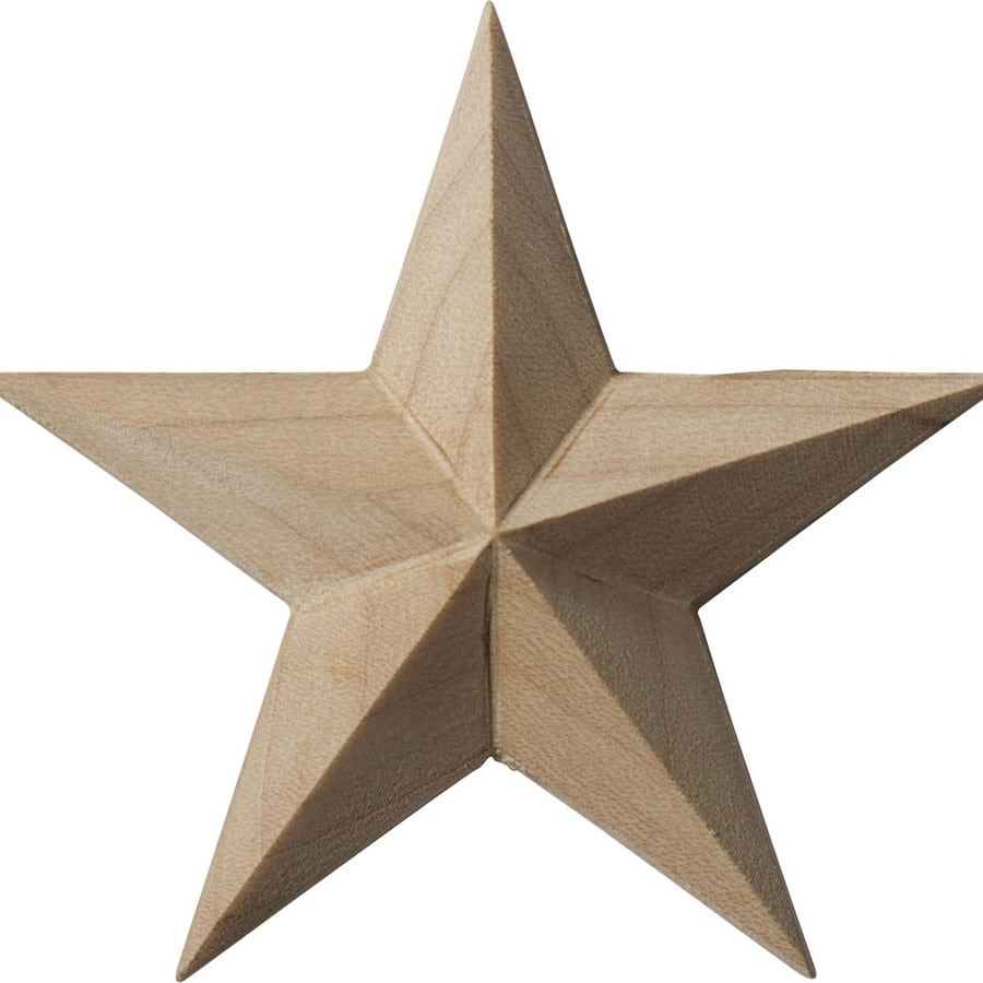 Ekena Millwork 2.75-in x 2.75-in Galveston Star Wood Applique