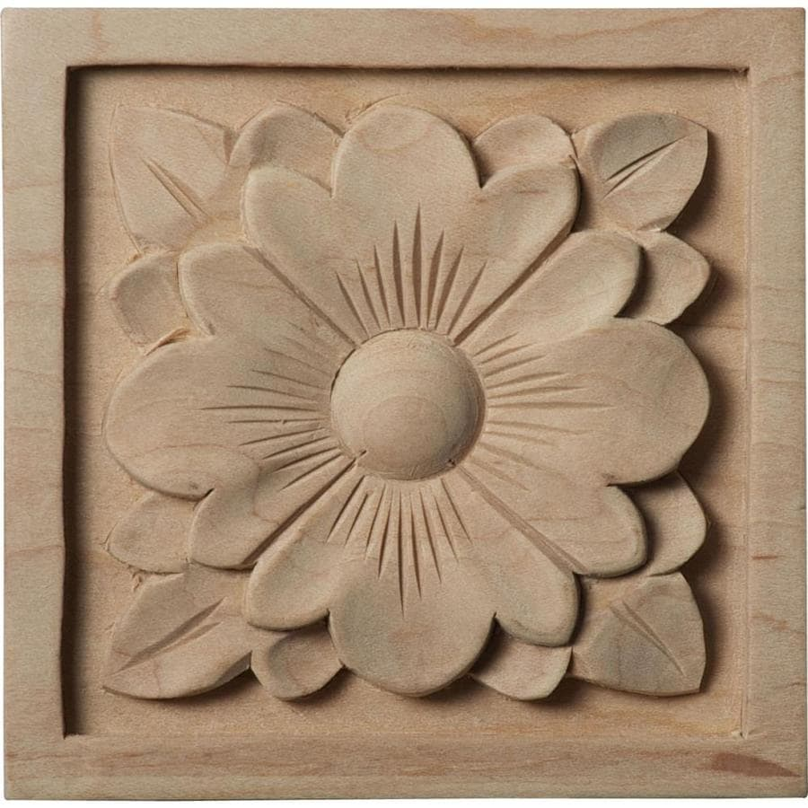 Ekena Millwork Medium Dogwood Flower Square Wood Rosette