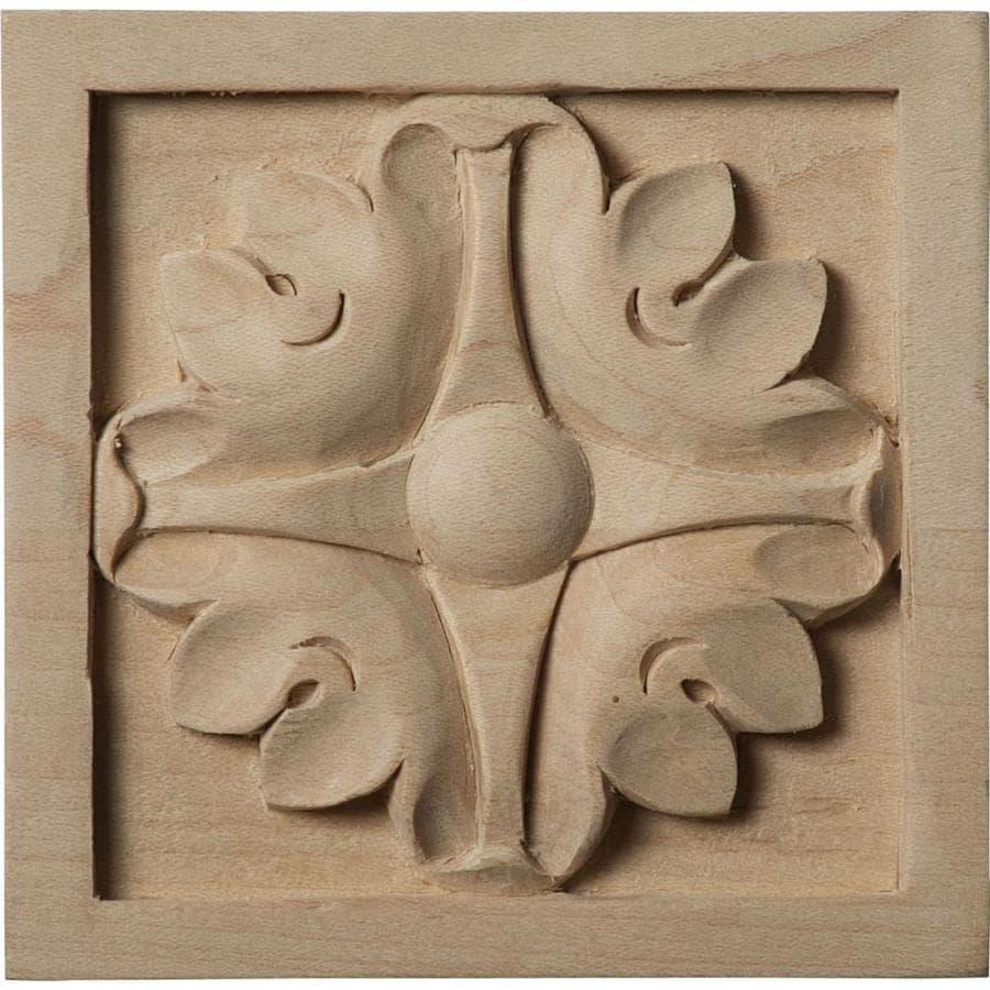 Ekena Millwork Medium Edinburgh 3.5-in x 3.5-in Square Maple Rosette