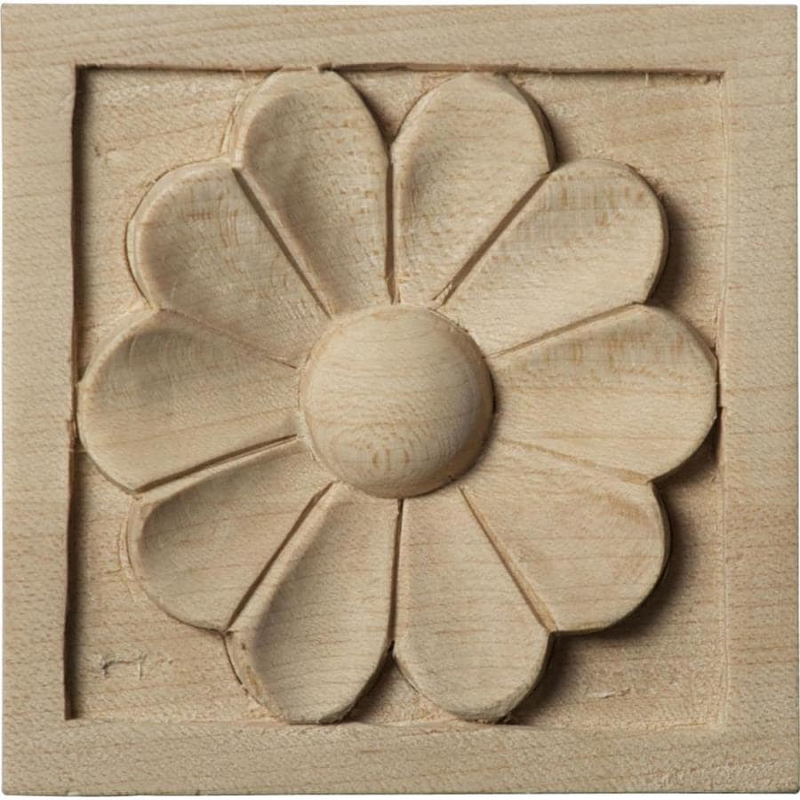 Ekena Millwork Small Medway 3-in x 3-in Square Cherry Rosette