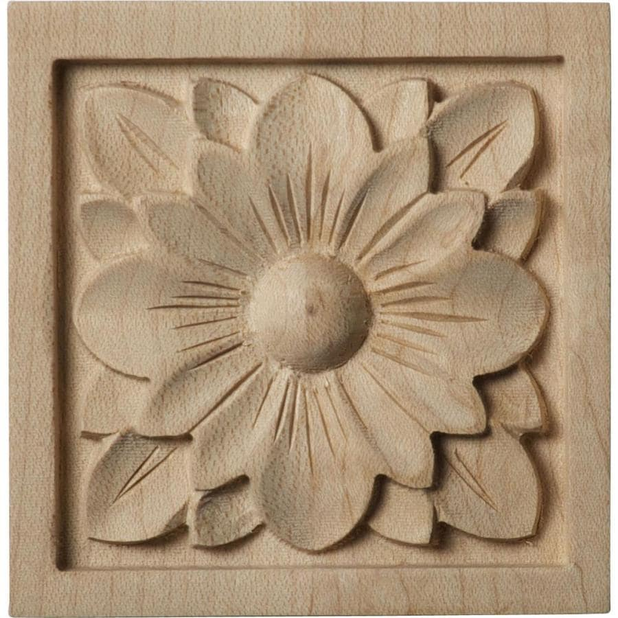 Ekena Millwork Small Dogwood Flower 3-in x 3-in Square Alder Rosette