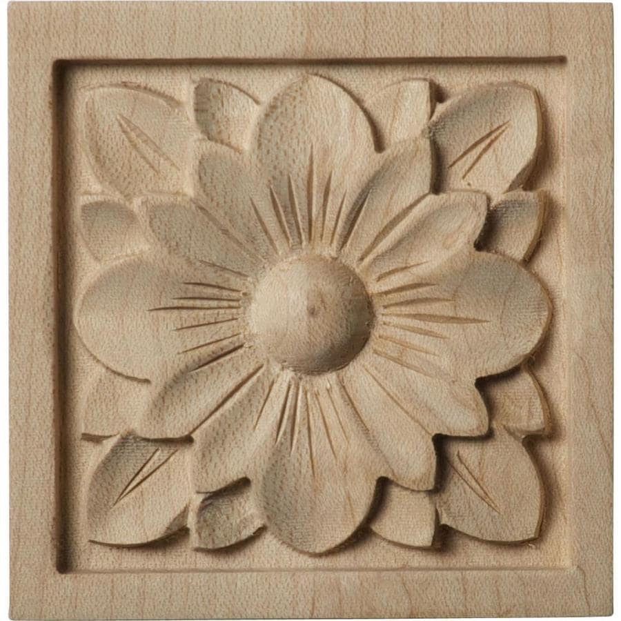 Ekena Millwork Small Dogwood Flower Square Wood Rosette