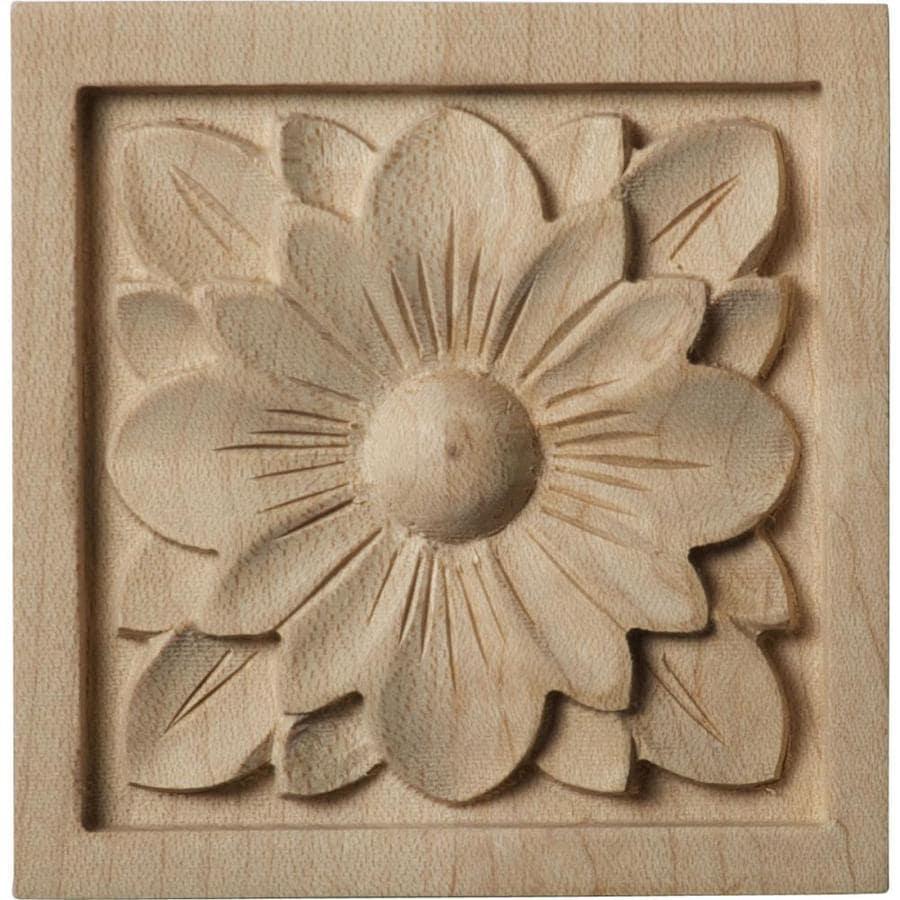 Ekena Millwork Small Dogwood Flower Square Wood Rosette