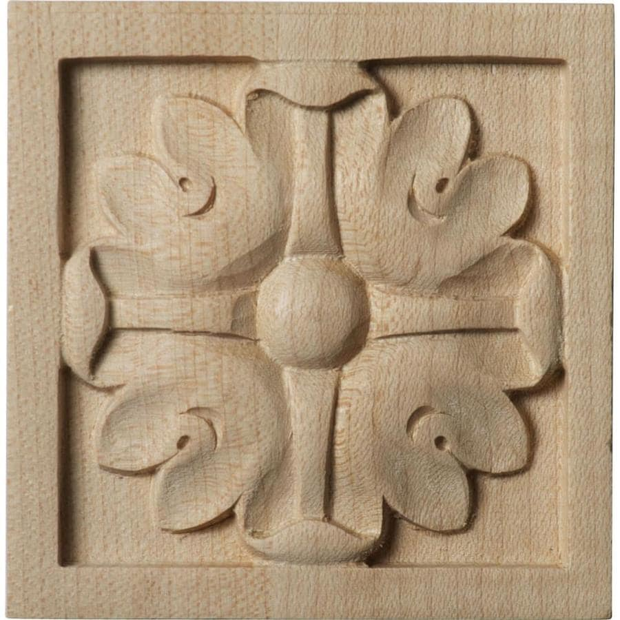 Ekena Millwork Small Edinburgh 3-in x 3-in Square Alder Rosette
