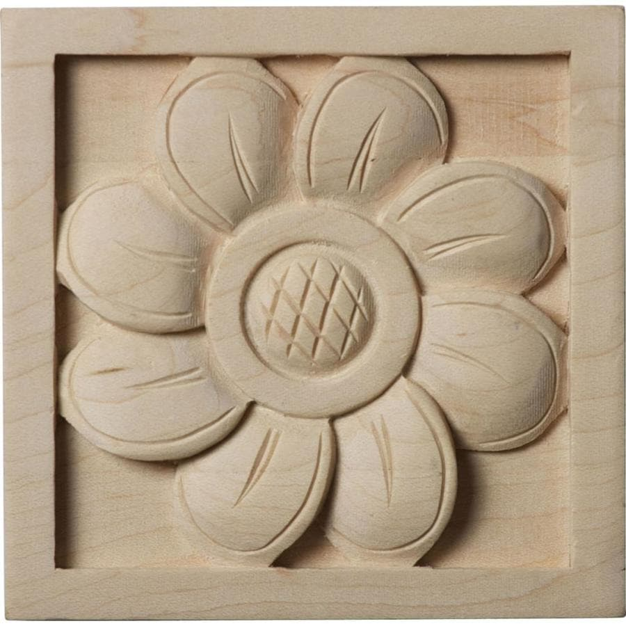 Ekena Millwork Small Sunflower 3-in x 3-in Square Alder Rosette