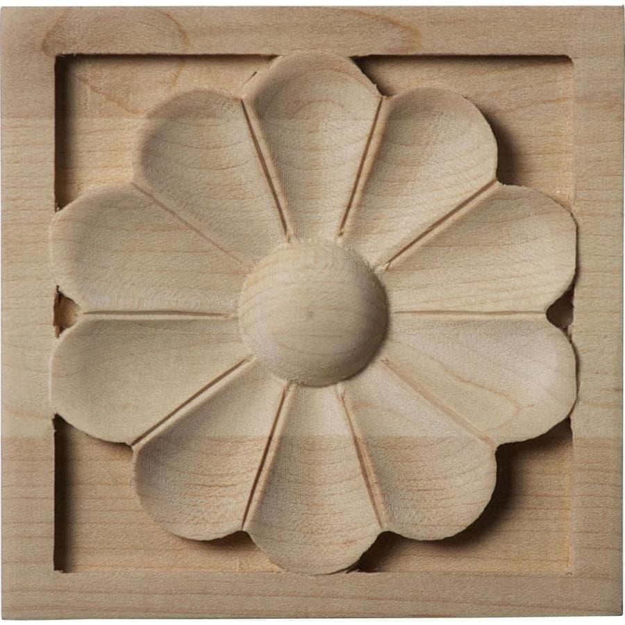 Ekena Millwork Medium Medway 3.5-in x 3.5-in Square Alder Rosette