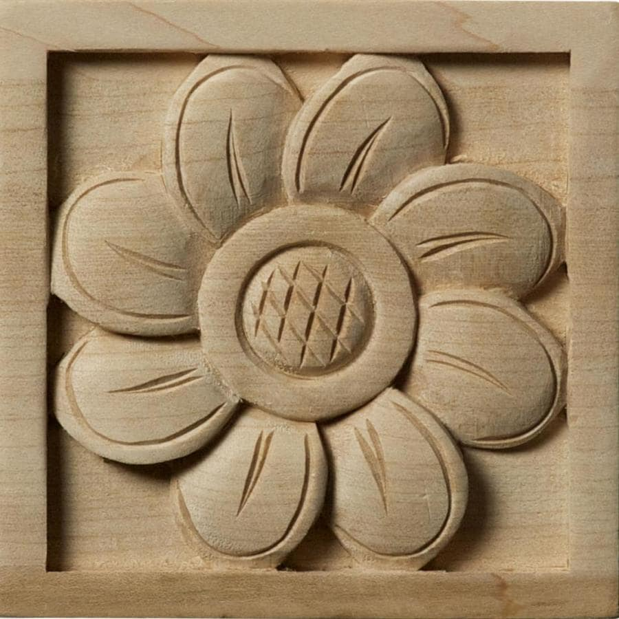 Ekena Millwork Medium Sunflower Square Wood Rosette
