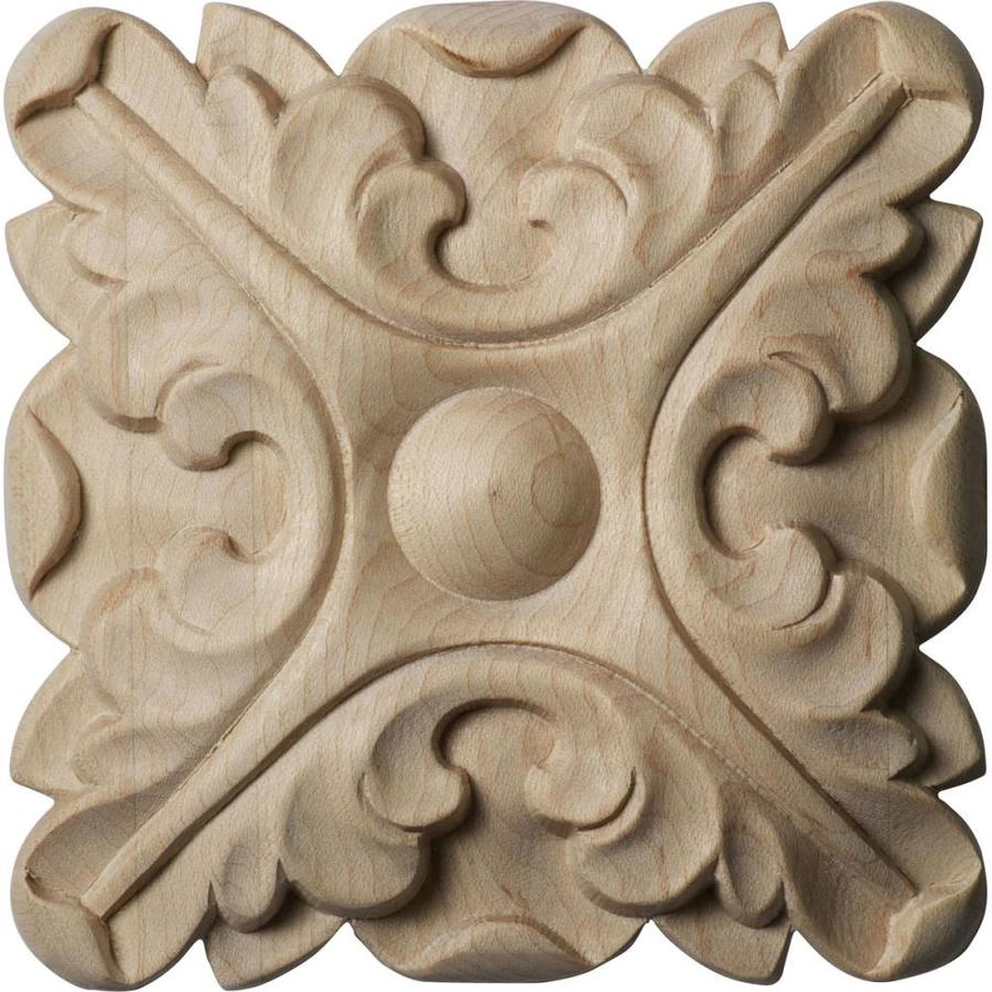 Ekena Millwork Acanthus 4.25-in x 4.25-in Round Rubberwood Rosette
