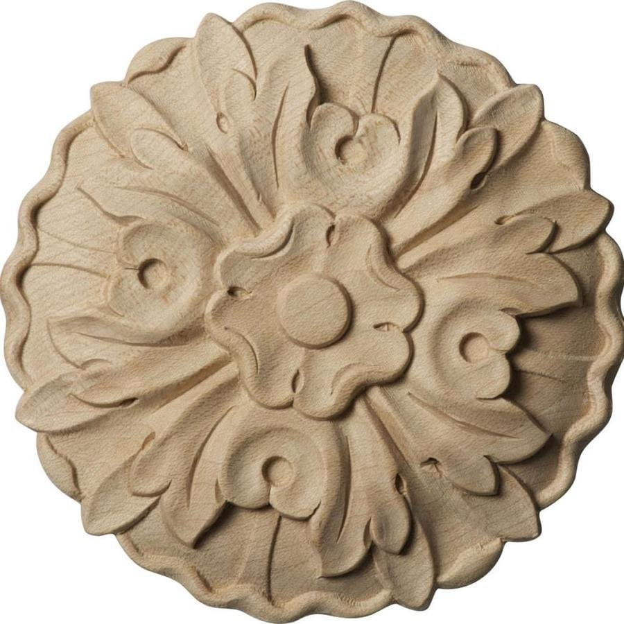 Ekena Millwork Small Kent Floral 4.25-in x 4.25-in Round Cherry Rosette
