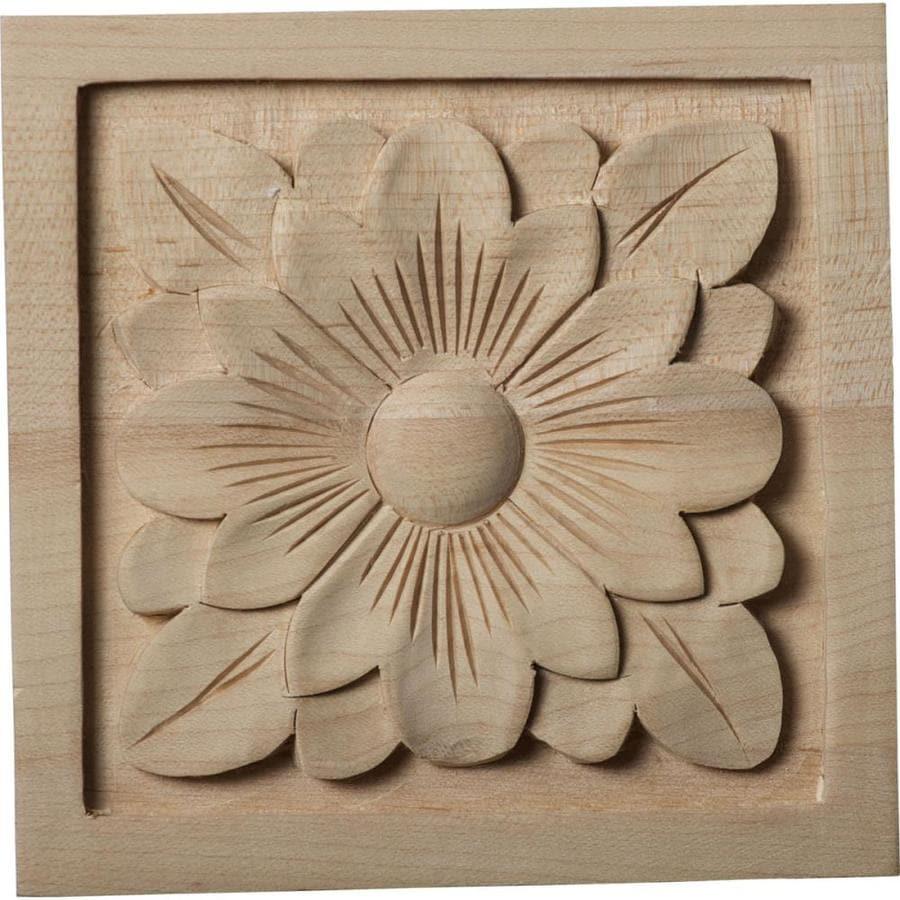 Ekena Millwork Large Dogwood Flower 5.125-in x 5.125-in Square Maple Rosette
