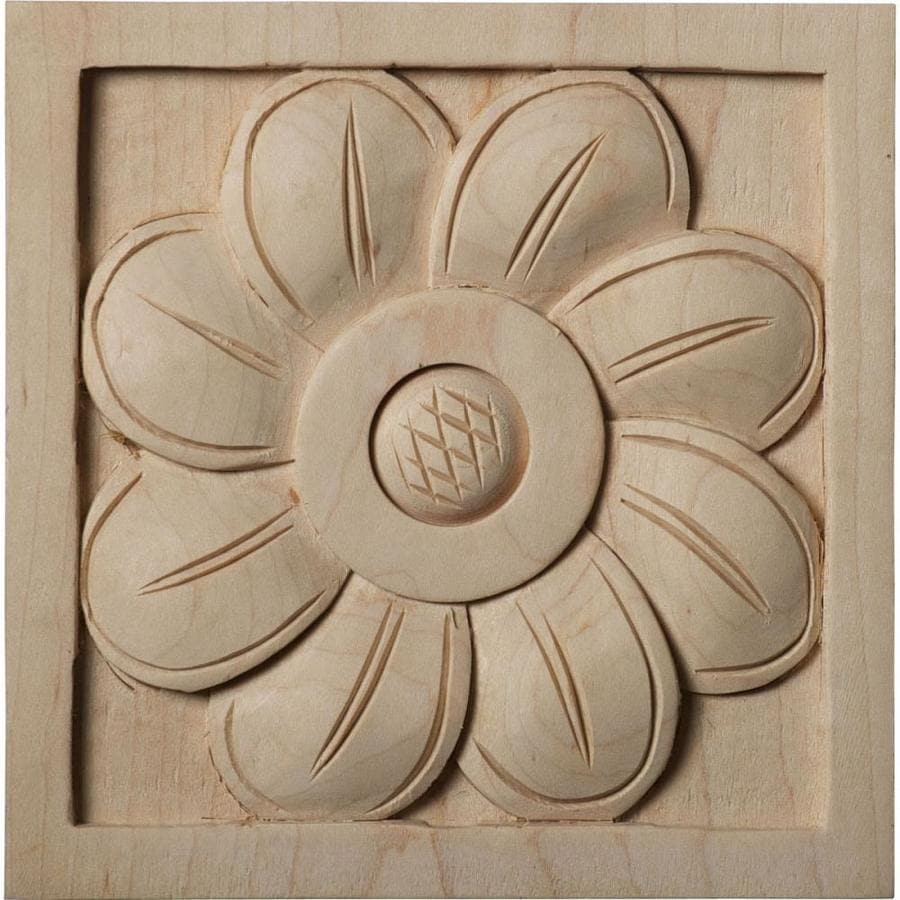 Ekena Millwork Large Sunflower Square Wood Rosette