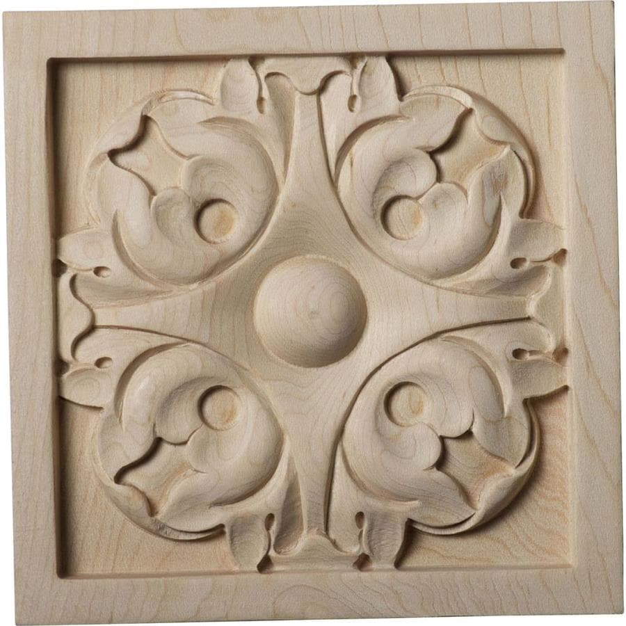 Ekena Millwork Large Leaf Square Wood Rosette