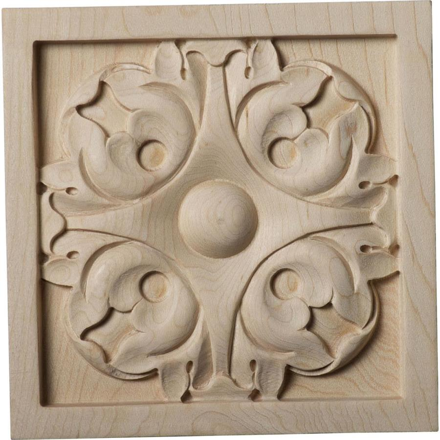 Ekena Millwork Large Leaf 5.125-in x 5.125-in Square Maple Rosette