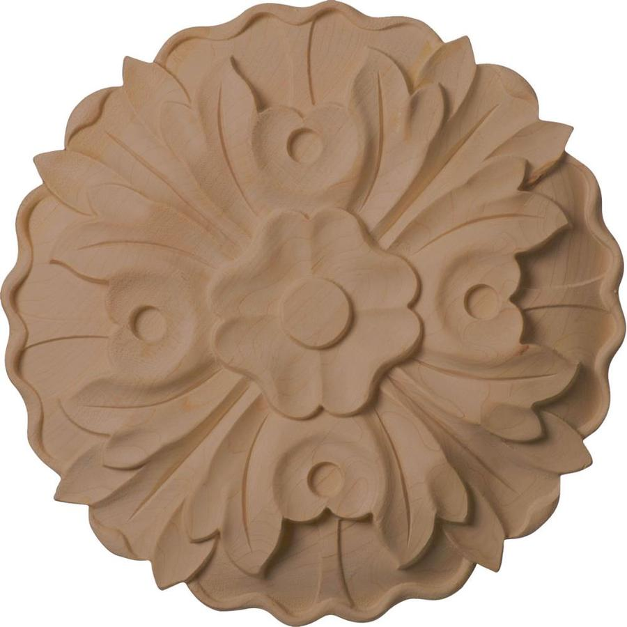 Ekena Millwork Large Kent Floral 9.25-in x 9.25-in Round Lindenwood Rosette