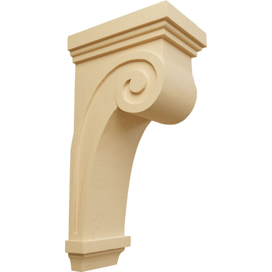 Ekena Millwork 5.5-in x 16-in Alder Scroll Wood Corbel