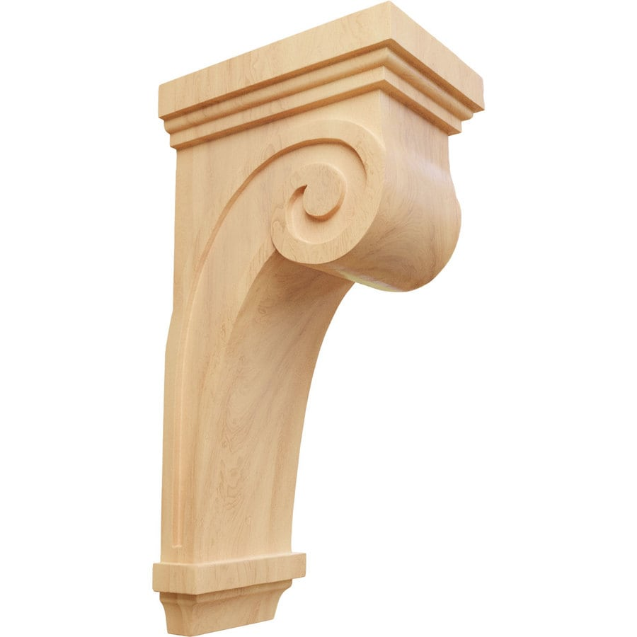 Ekena Millwork 5.5-in x 16-in Red Oak Scroll Wood Corbel