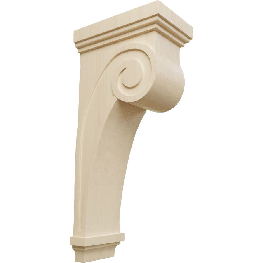 Ekena Millwork 6.25-in x 22-in Scroll Rubberwood Corbel