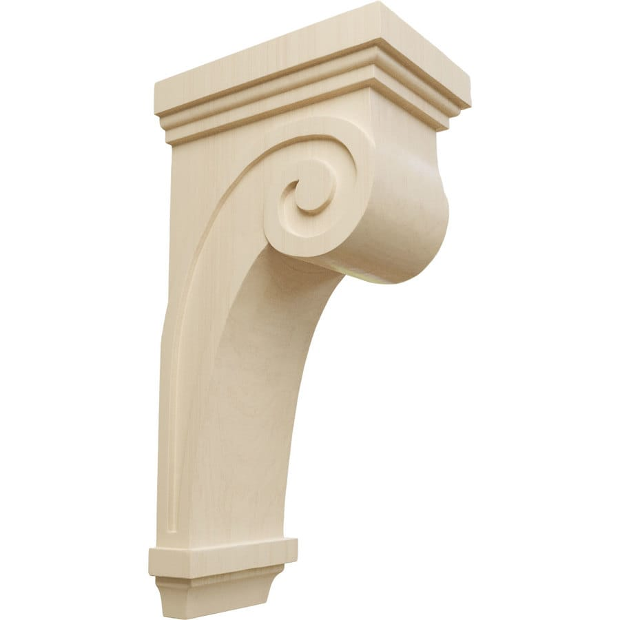 Ekena Millwork 5.5-in x 16-in Rubberwood Scroll Wood Corbel