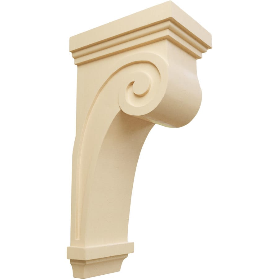 Ekena Millwork 5.5-in x 16-in Maple Scroll Wood Corbel