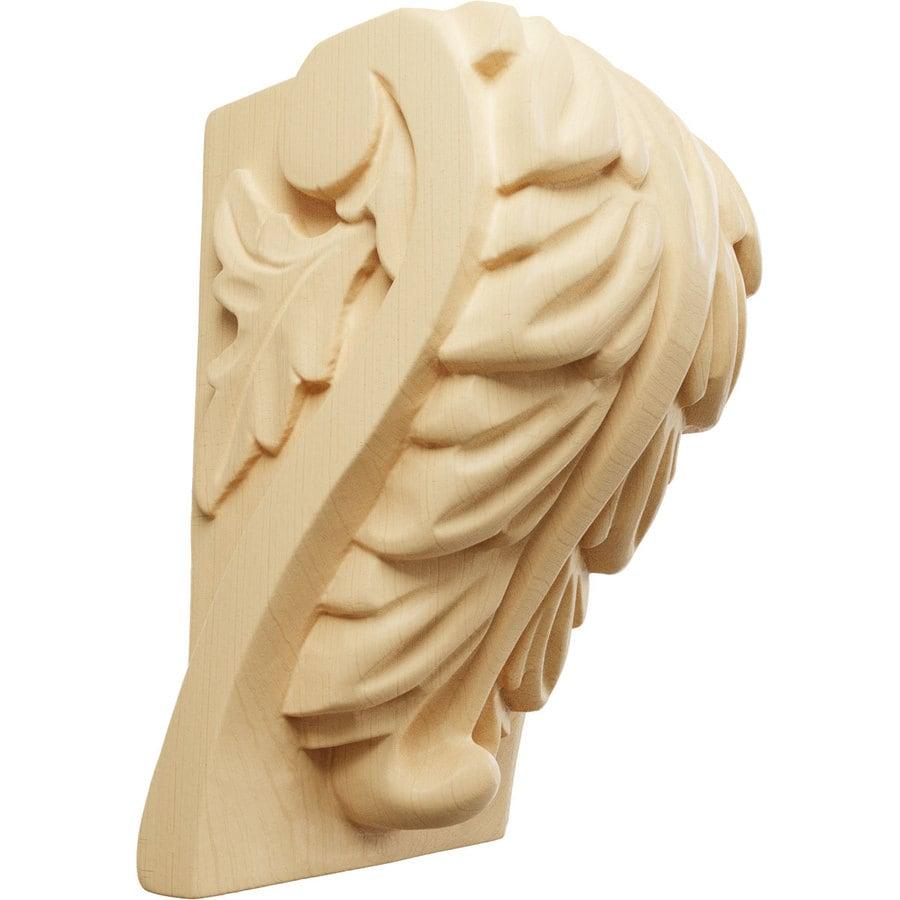Ekena Millwork 2.5-in x 4-in Maple Acanthus Wood Corbel