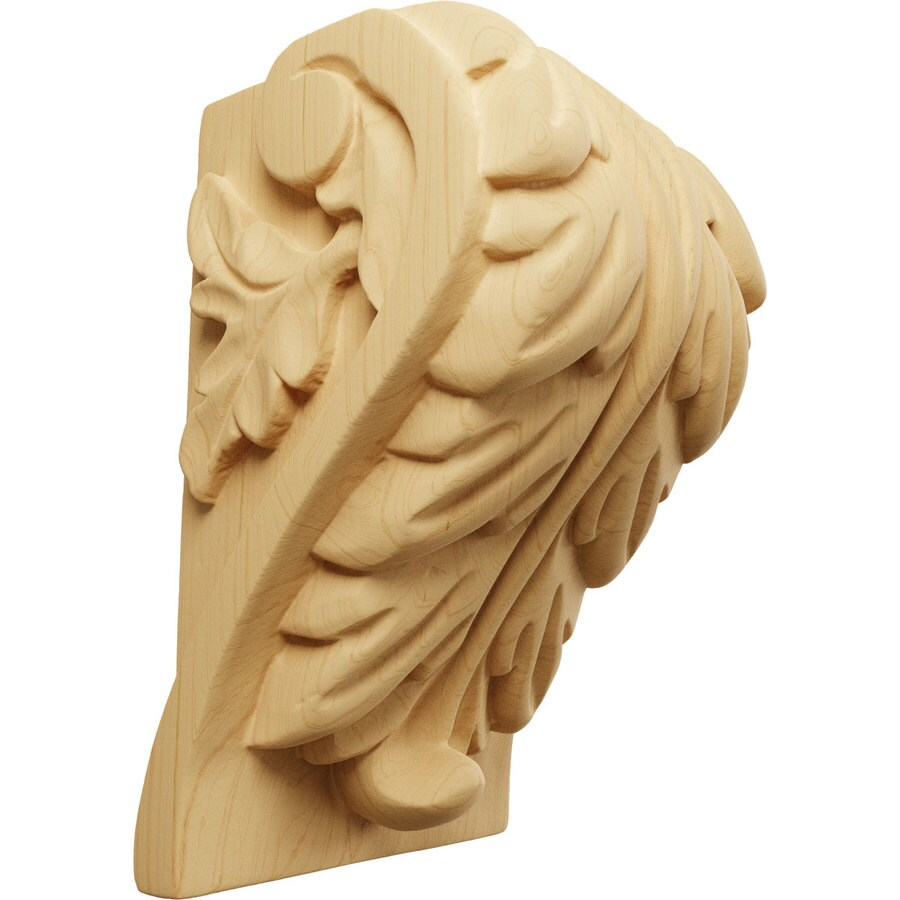 Ekena Millwork 3.25-in x 5-in Alder Acanthus Wood Corbel