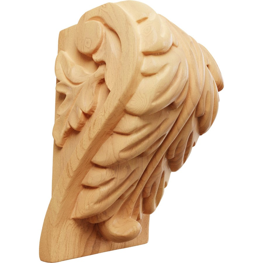 Ekena Millwork 3.25-in x 5-in Red Oak Acanthus Wood Corbel