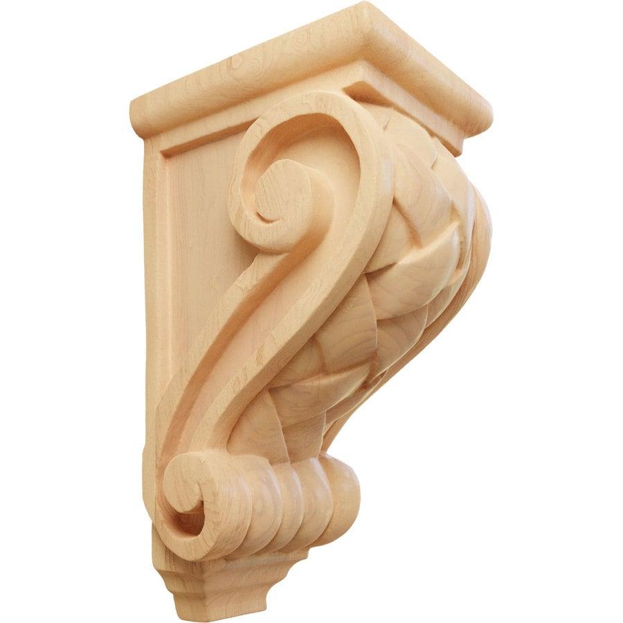 Ekena Millwork 3.5-in x 7-in Red Oak Basket Weave Wood Corbel