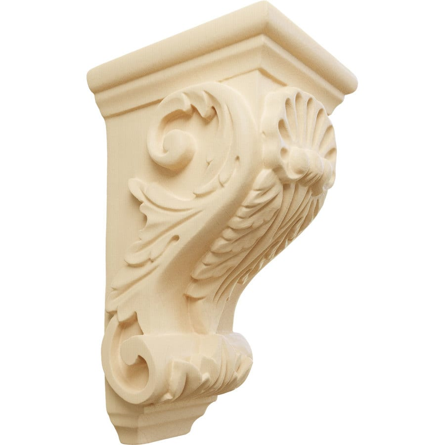 Ekena Millwork 3.5-in x 7-in Maple Shell Wood Corbel