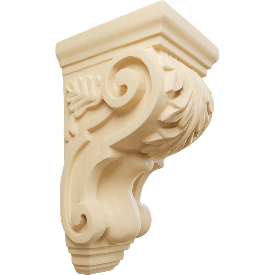 Ekena Millwork 3.5-in x 7-in Maple Acanthus Wood Corbel