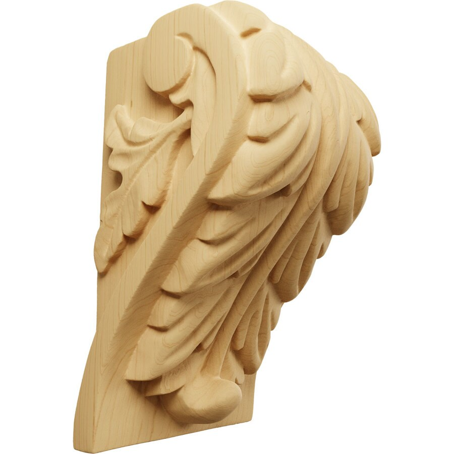 Ekena Millwork 3.75-in x 6-in Alder Acanthus Wood Corbel