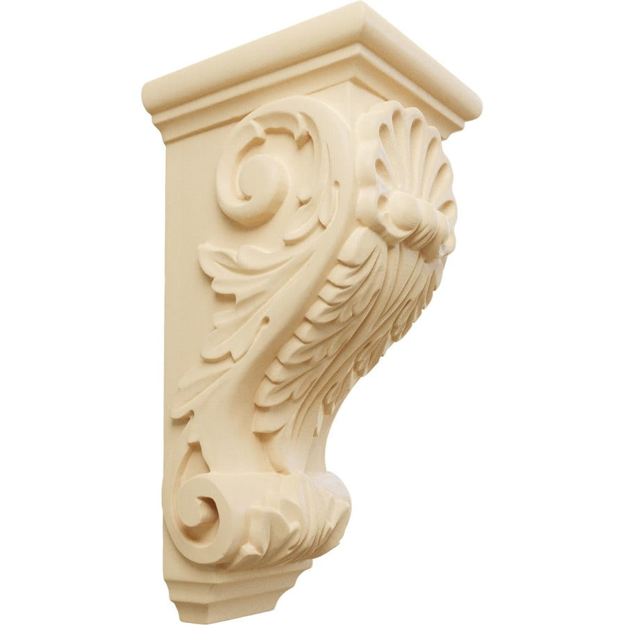 Ekena Millwork 4.5-in x 10-in Maple Shell Wood Corbel