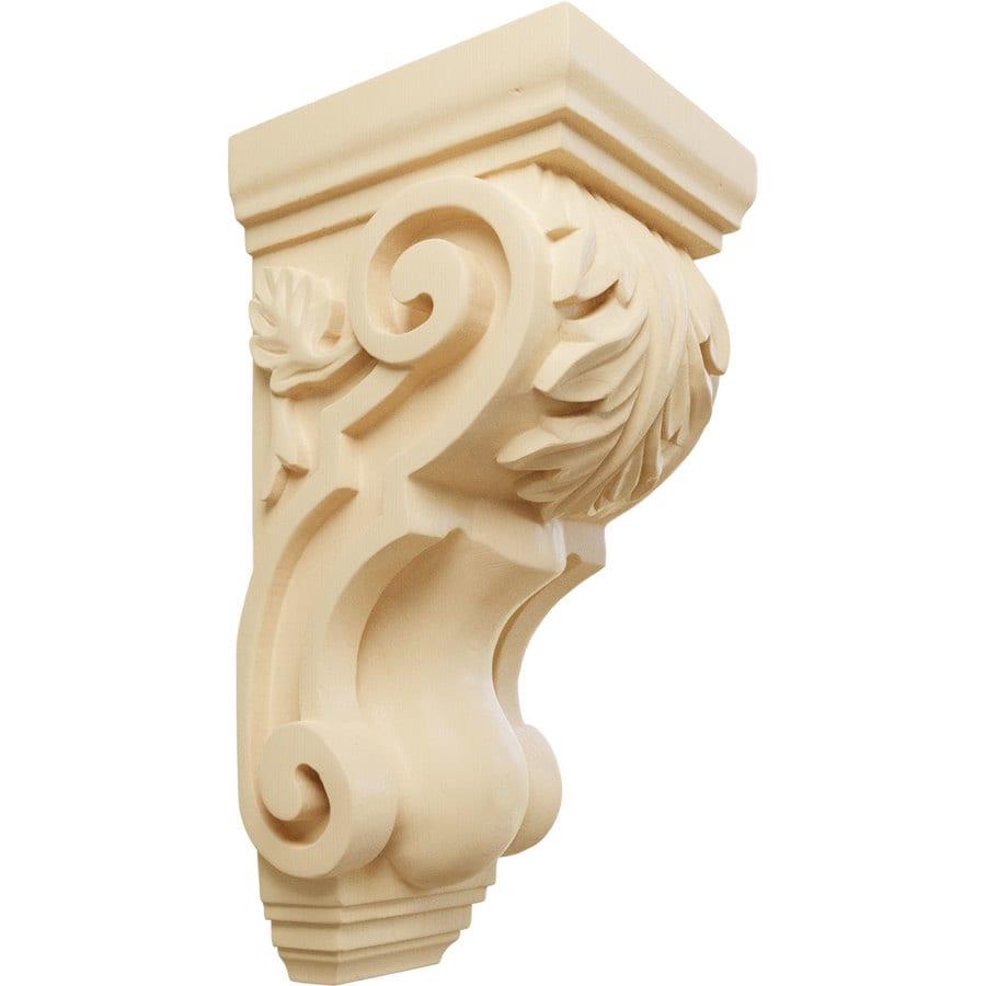 Ekena Millwork 4.5-in x 10-in Maple Acanthus Wood Corbel