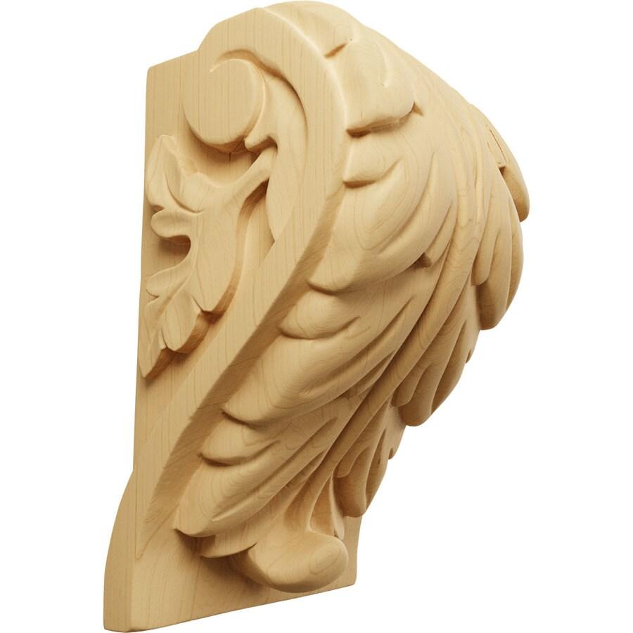 Ekena Millwork 4.5-in x 7-in Alder Acanthus Wood Corbel